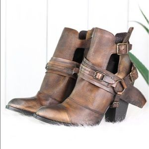 Naughty Monkey Brown Shelia Strapped Ankle Boots